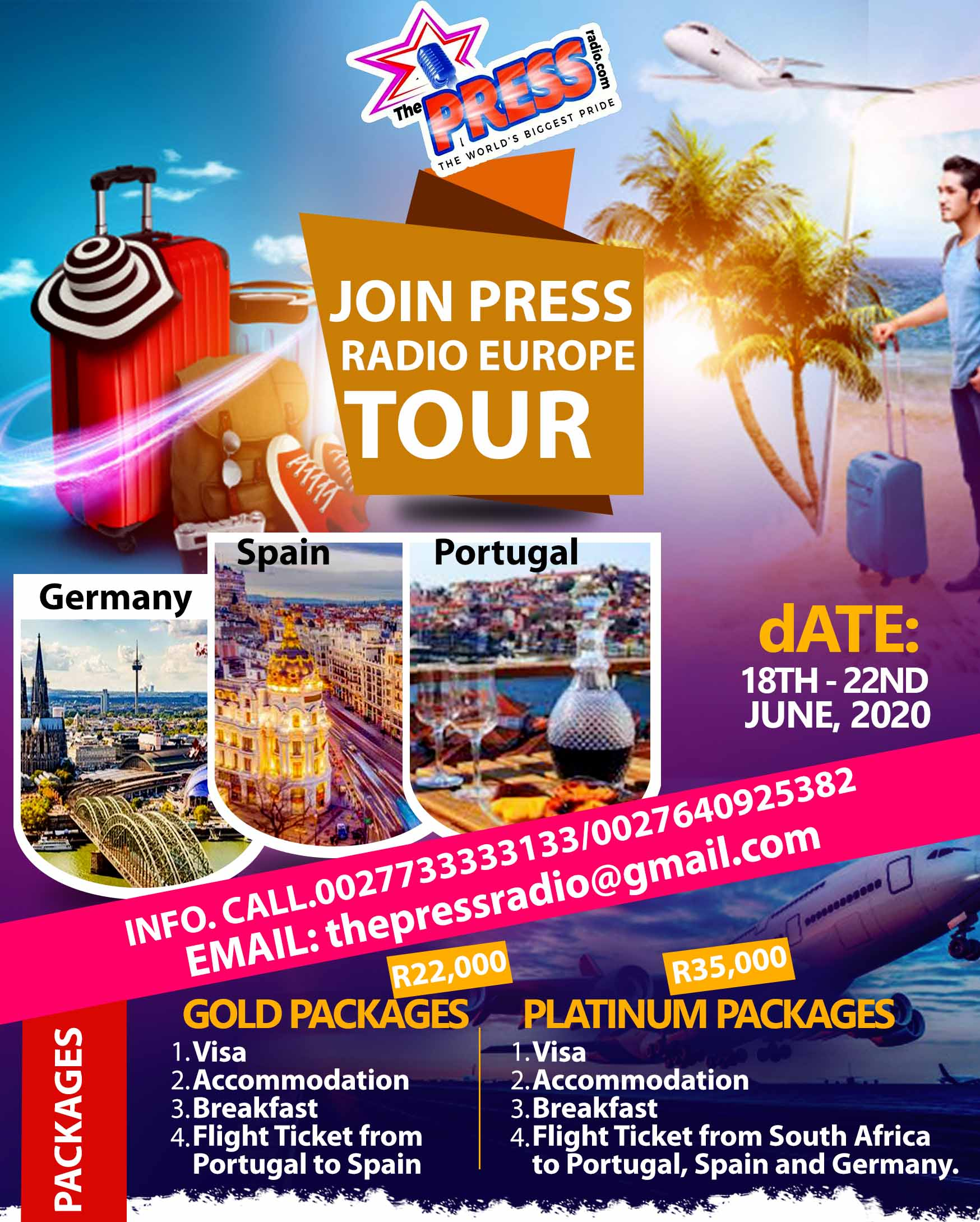 JOIN PRESS MLTI-MEDIA TO TOUR EUROPE